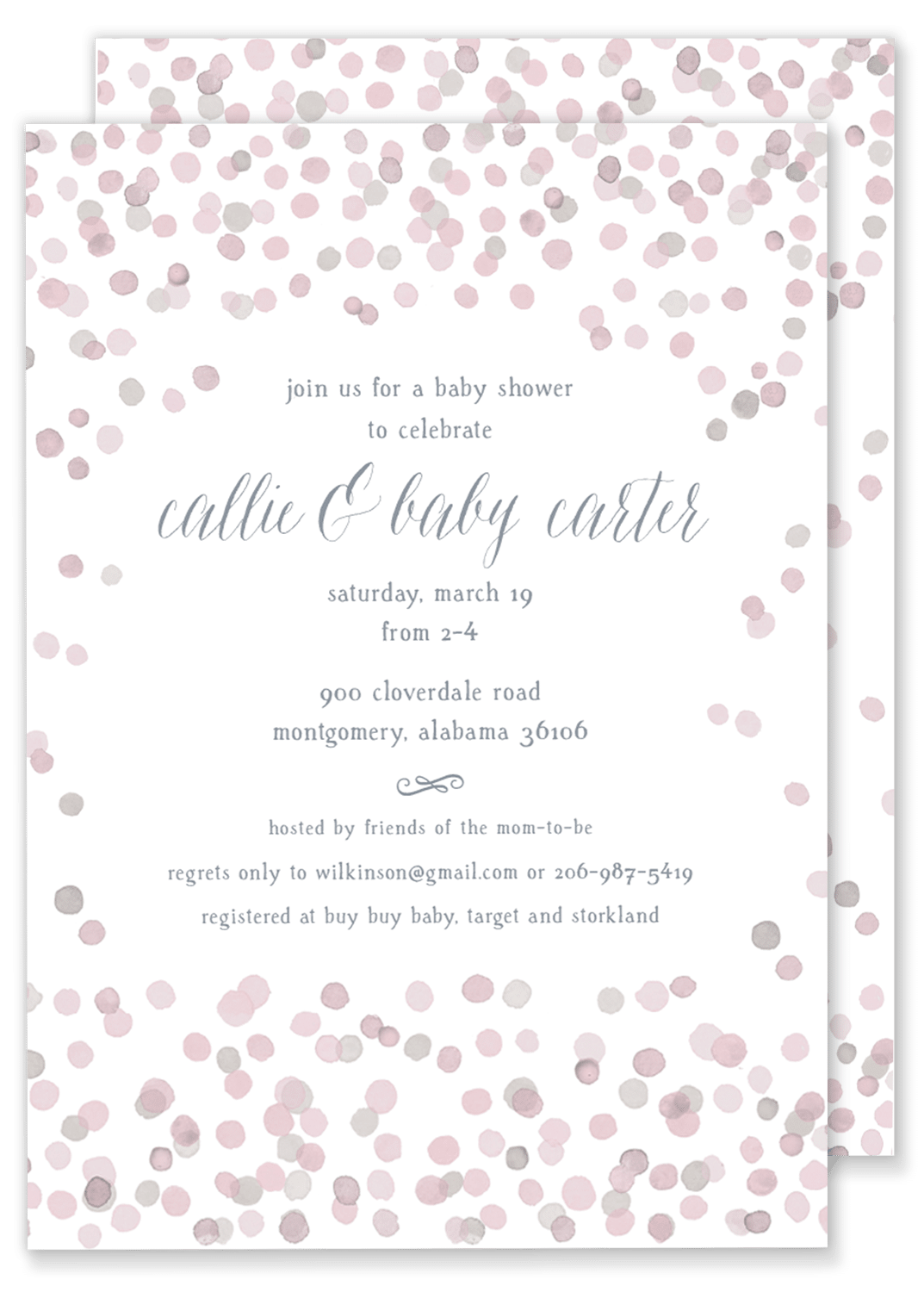 Carter Confetti Baby Shower. Pink Confetti Baby Shower Wedding Shower  Invitation ...