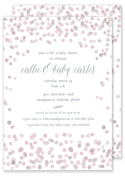 pink confetti birthday party invitation