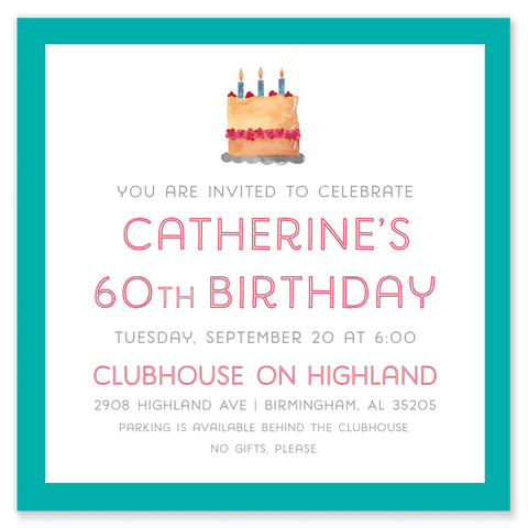 Catherine's Cake Birthday Party Invitation