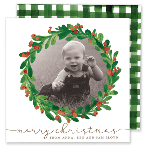 Christmas Wreath Square Christmas Card