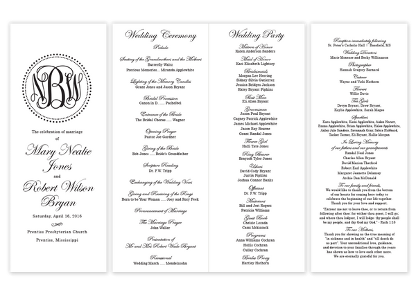 black dot monogram folded wedding program script