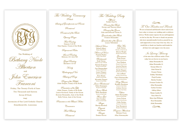 gold dot monogram folded wedding program script
