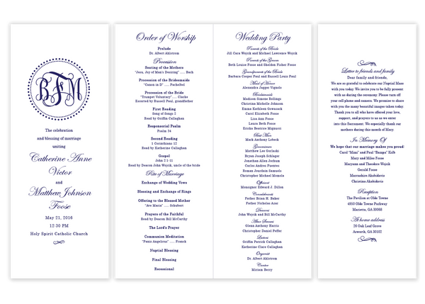 navy dot monogram folded wedding program script