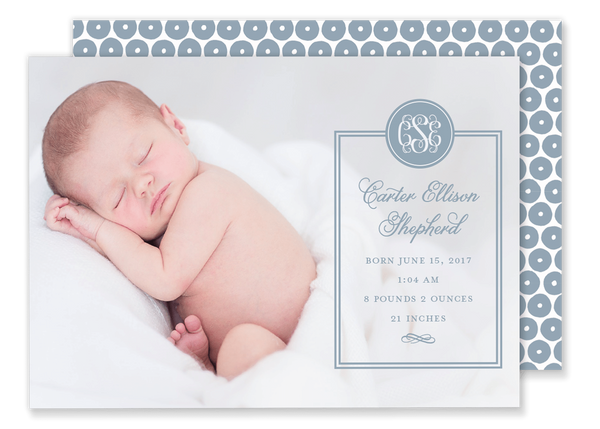 boy monogram birth announcement blue