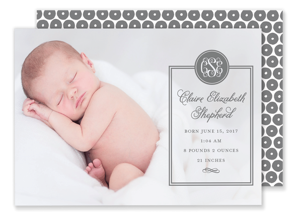 monogram birth announcement grey