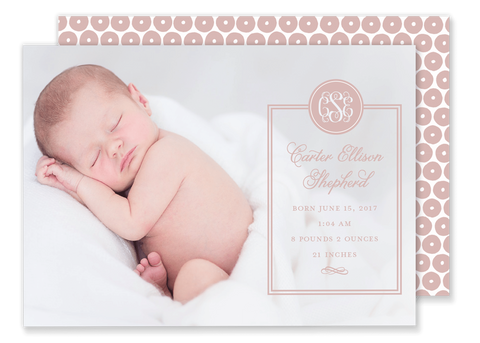 girl monogram birth announcement pink