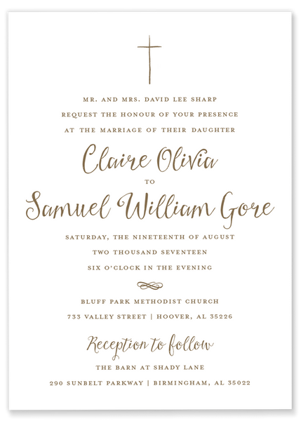 gold hand drawn cross wedding invitation
