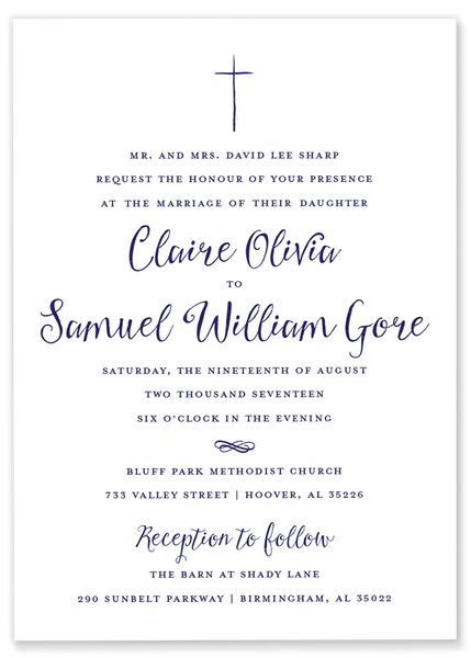 navy hand drawn cross wedding invitation