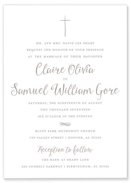Claire Cross Wedding Invitation