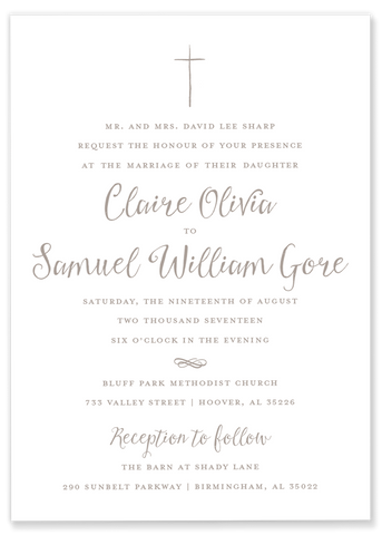 taupe hand drawn cross wedding invitation