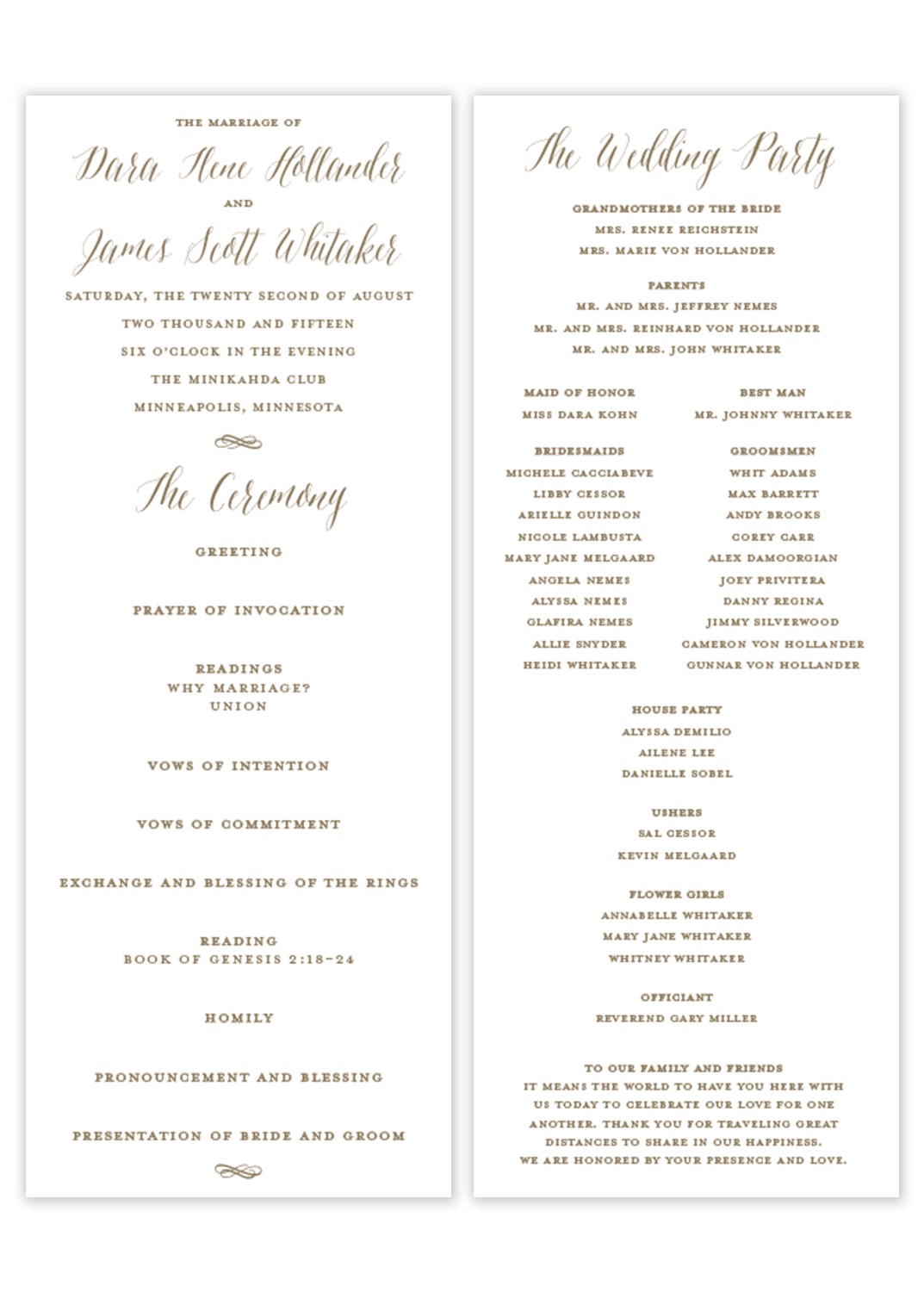 Classic Calligraphy \\\\ Flat Wedding Program – Gilm Press