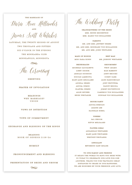 gold flat wedding ceremony program Catholic mass Christian ceremony