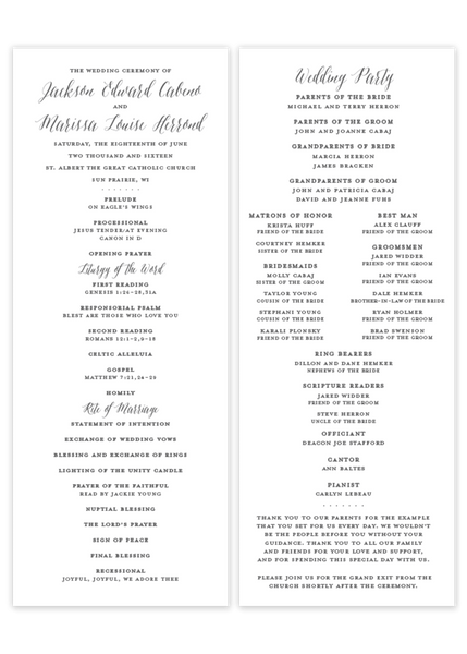 grey flat calligraphy wedding program Catholic mass Christian ceremony