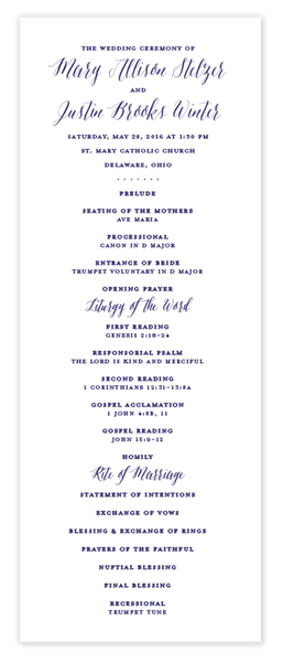 Classic Calligraphy \\ Flat Wedding Program