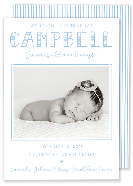 Classic Campbell Framed Birth Announcement