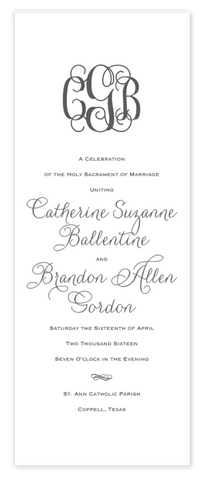 grey folded monogram script wedding ceremony program