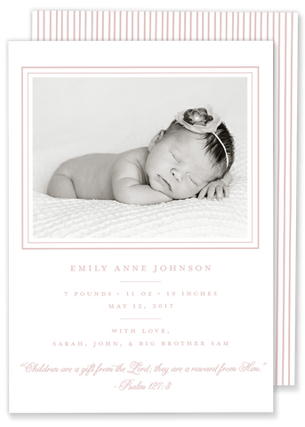 classic girl pink photo birth announcement