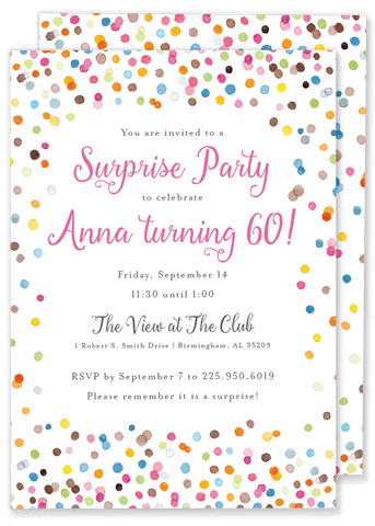 Colorful Confetti Birthday Invitation