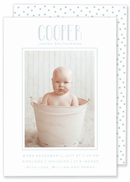 big name framed photo birth announcement blue