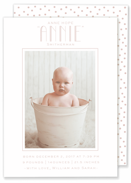 big name framed photo birth announcement pink