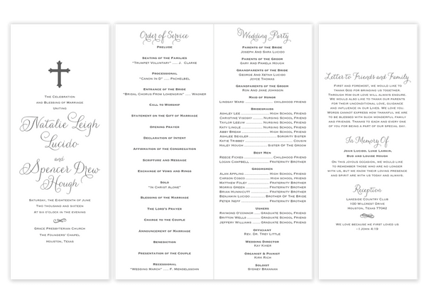 Vertical Cross \\ Folded Wedding Program