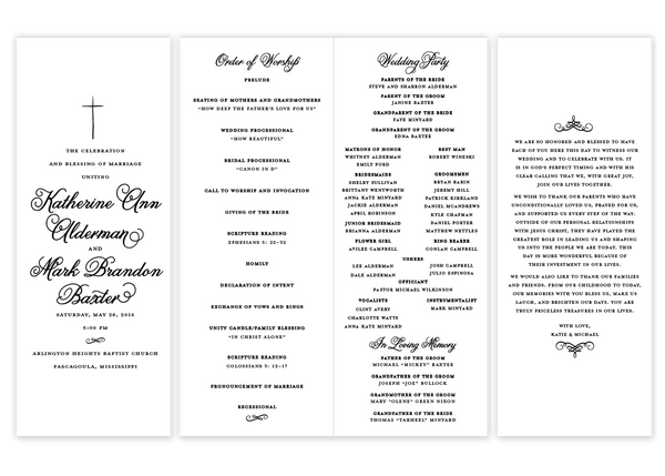 black folded cross script wedding program