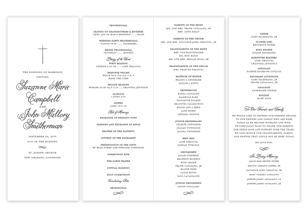 grey folded cross script wedding program