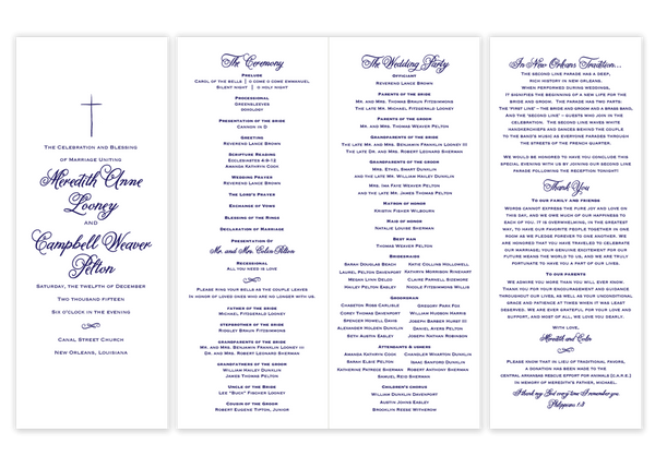 navy folded cross script wedding program