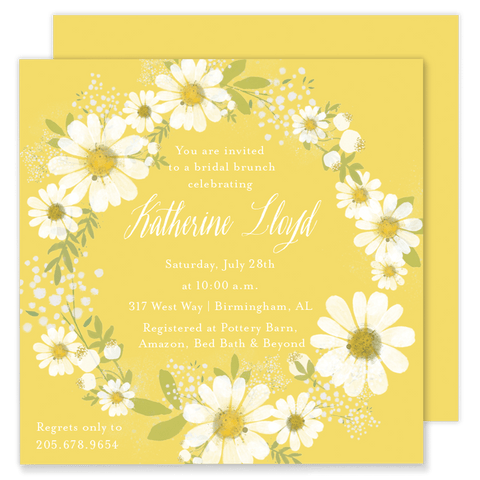 Daisy Wreath Bridal Brunch Invitation