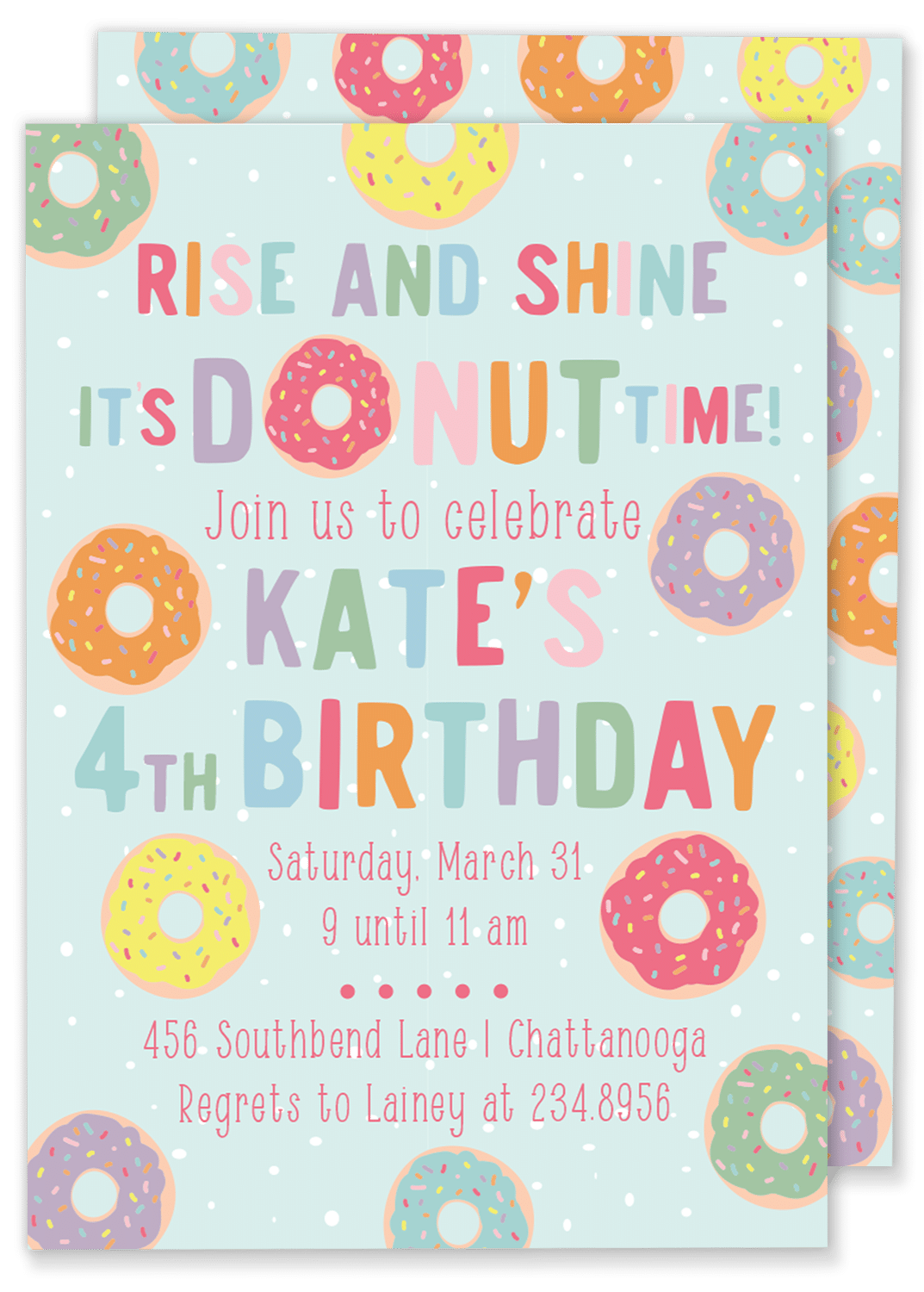 Donut Time Birthday Party Invitation