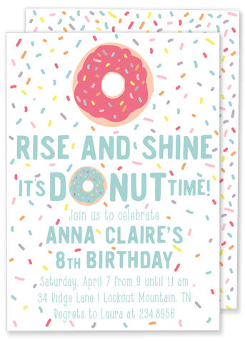 Donut Sprinkle Birthday Party Invitation