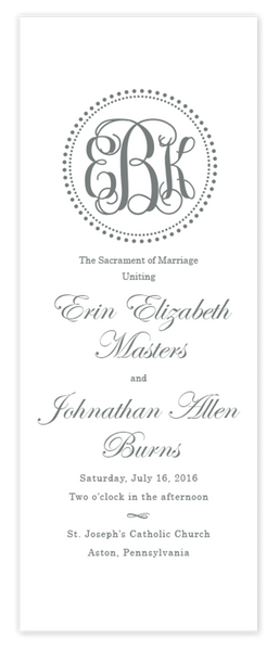 Dot Monogram \\ Folded Wedding Program