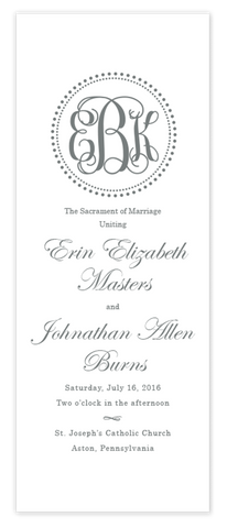 grey dot monogram folded wedding program script