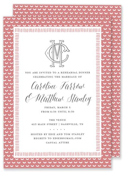Double Monogram Shower Invitation