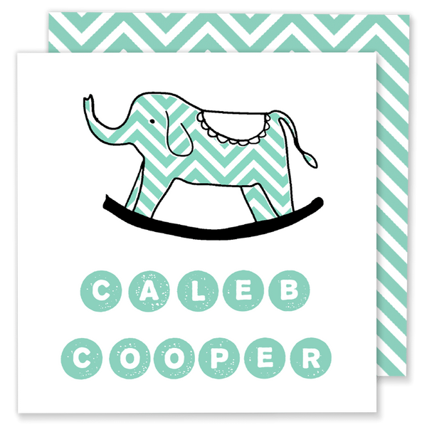 teal chevron elephant calling card enclosure card gift tag