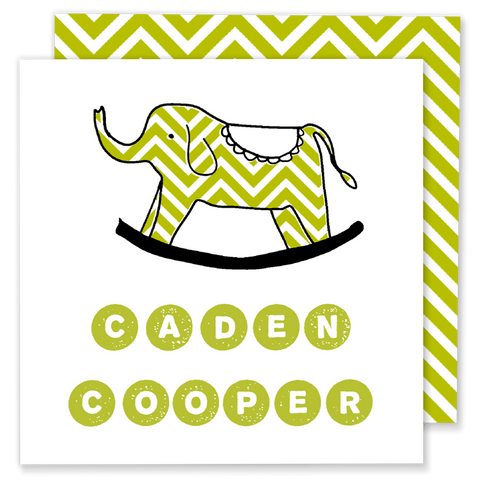 lime green chevron elephant calling card enclosure card gift tag