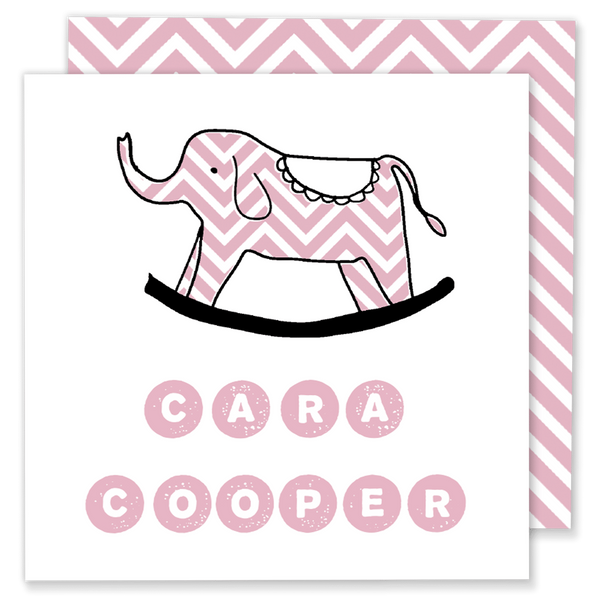 pink chevron elephant calling card enclosure card gift tag