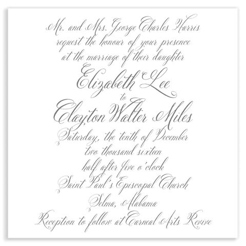 Full Calligraphy Wedding Invitation