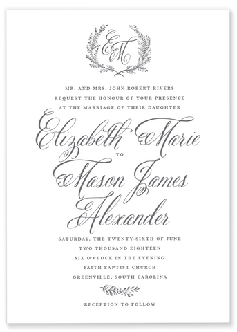 Elizabeth Marie Laurel Wedding Invitation