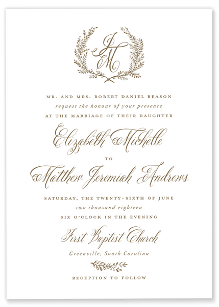 Elizabeth Michelle Laurel Wedding Invitation