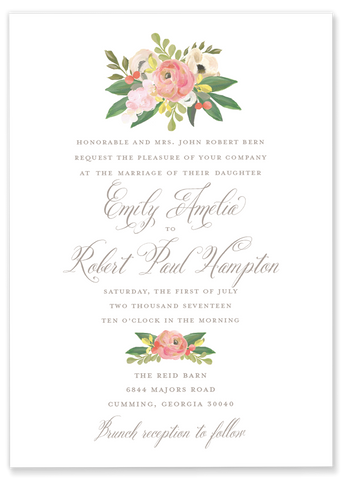 Emily Amelia Pink Floral Wedding Invitation