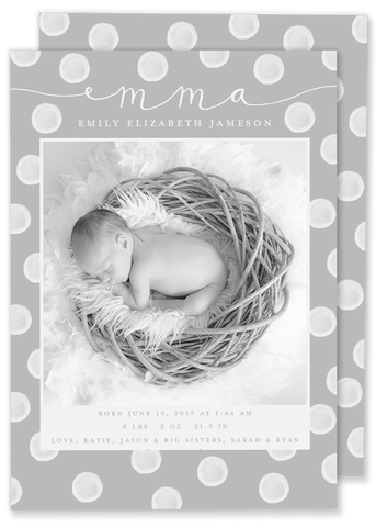polka dot birth announcement grey