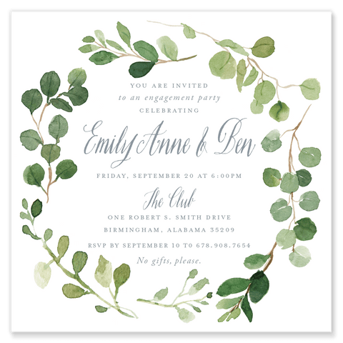 Eucalyptus Engagement Party Invitation