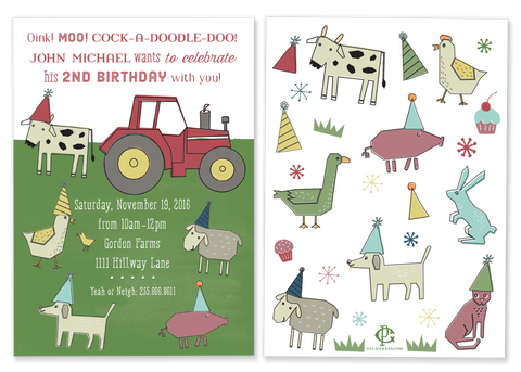 Farm Party Birthday Invitation