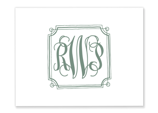 Framed Monogram Folded Note Card