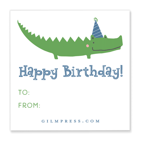Alligator Birthday Gift Tag