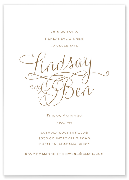 Gold Rehearsal Dinner Invitation