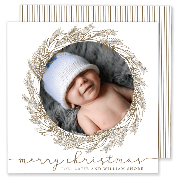 Gold Wreath Square Christmas Card