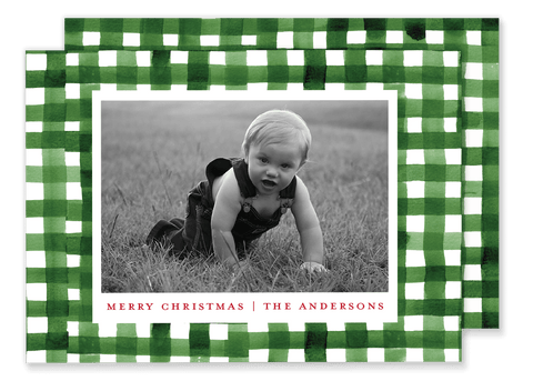 Green Check Christmas Card