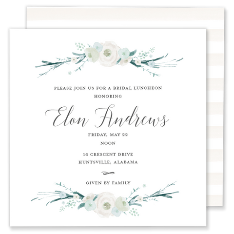 Green and White Floral Shower Invitation